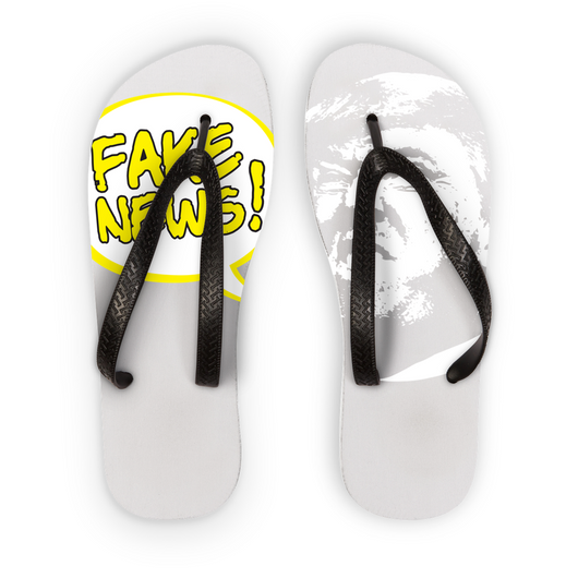 fake news bubble head Flip Flops
