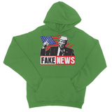 Fake News Trump Union Jack Finger Up College Hoodie