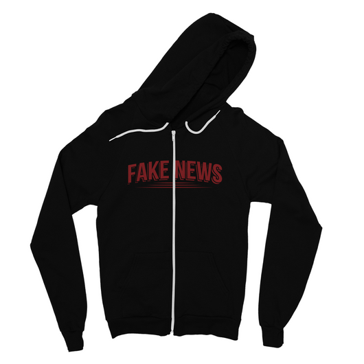 Fake News with Lines Fine Jersey Zip Hoodie