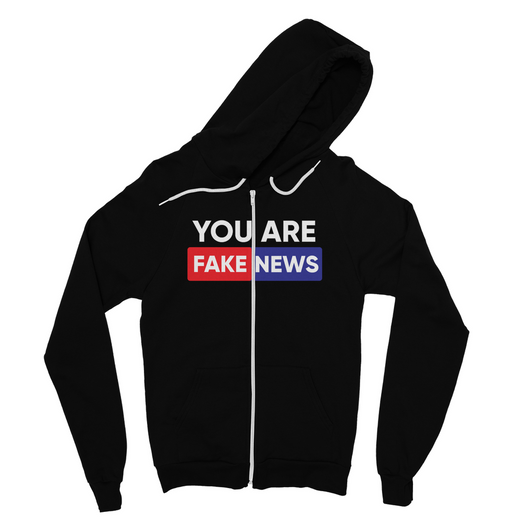 you are fake news Fine Jersey Zip Hoodie