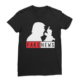 Fake News Trump with Mic Women's Fine Jersey T-Shirt