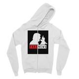 Fake News Trump with Mic Fine Jersey Zip Hoodie