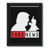 Fake News Trump with Mic Framed EcoCanvas