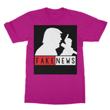 Fake News Trump with Mic Softstyle Ringspun T-Shirt