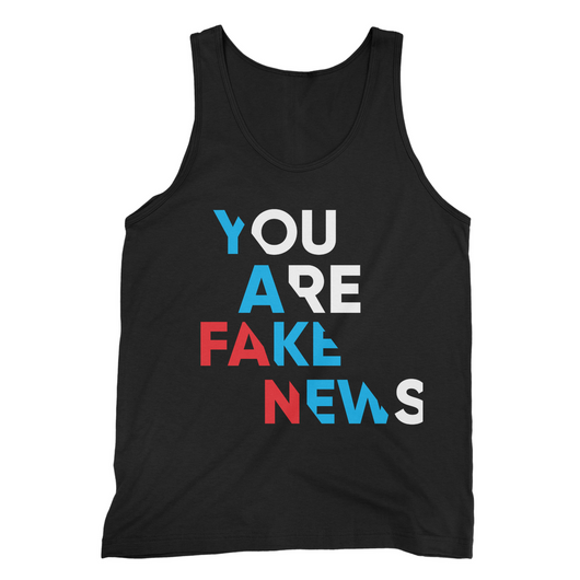 you are fake news diagonal Fine Jersey Tank Top