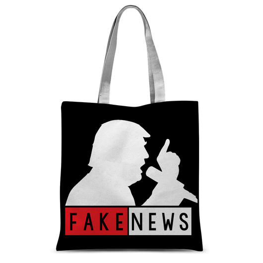 Fake News Trump with Mic Tote Bag