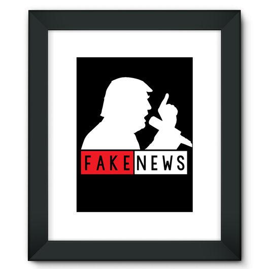 Fake News Trump with Mic Framed Fine Art Print