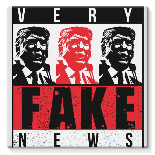 fake news 3 heads trump Very Fake News, 3 Trump Heads, Stretched Eco-Canvas