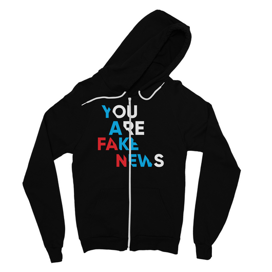 you are fake news diagonal Fine Jersey Zip Hoodie