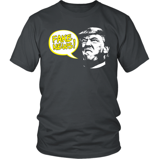 Fake News Shirt with Trump Head and Cartoon Style Bubble