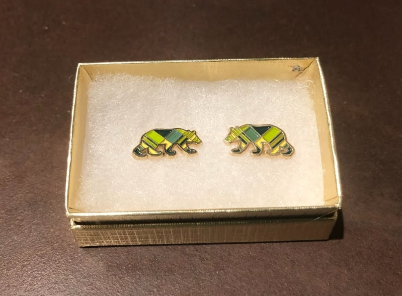 Plaid Bear Earrings