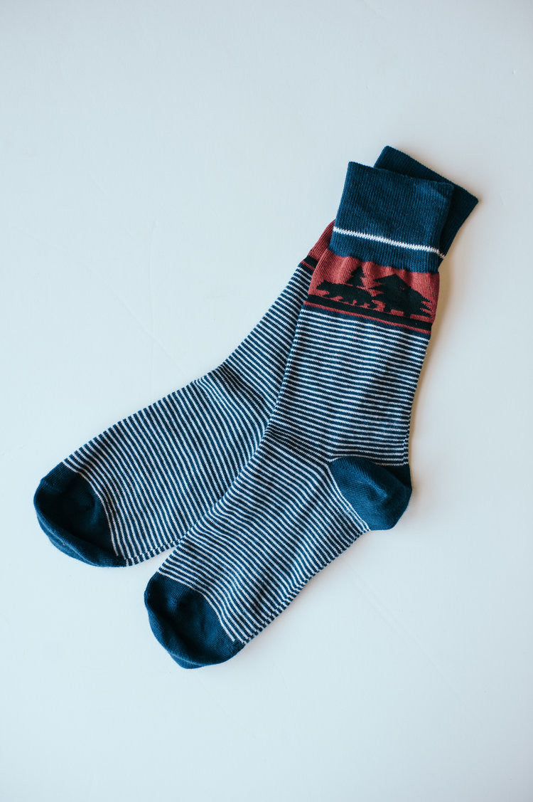 Dapper Bear Sock Collection - Blue Pinstripe
