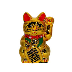 Lucky Fortune Cat Neko Coin Bank Ceramic - Gold - Size 5.1
