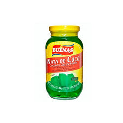 Buenas Nata De Coco - Coconut Gel In Syrup (Green) 340g - Mado's Food Hall