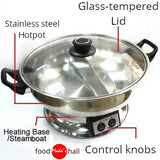 Mastarcook Multi-Cooker 2 Sided Hot Pot & Steamboat Heating Base Dia30cm 1600W 4.2L - Mado's Food Hall