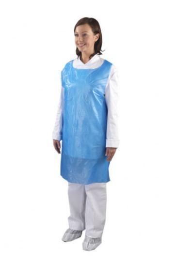Pack of 100 Disposable Aprons Waterproof Polythene Blue | Salon Microblading PMU