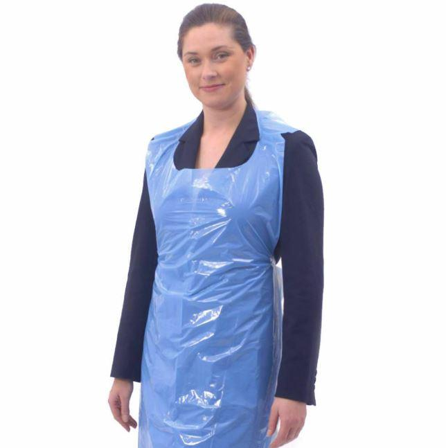 Pack of 100 Disposable Aprons Waterproof Polythene Blue | Salon Microblading | PPE - Microblade Supplies