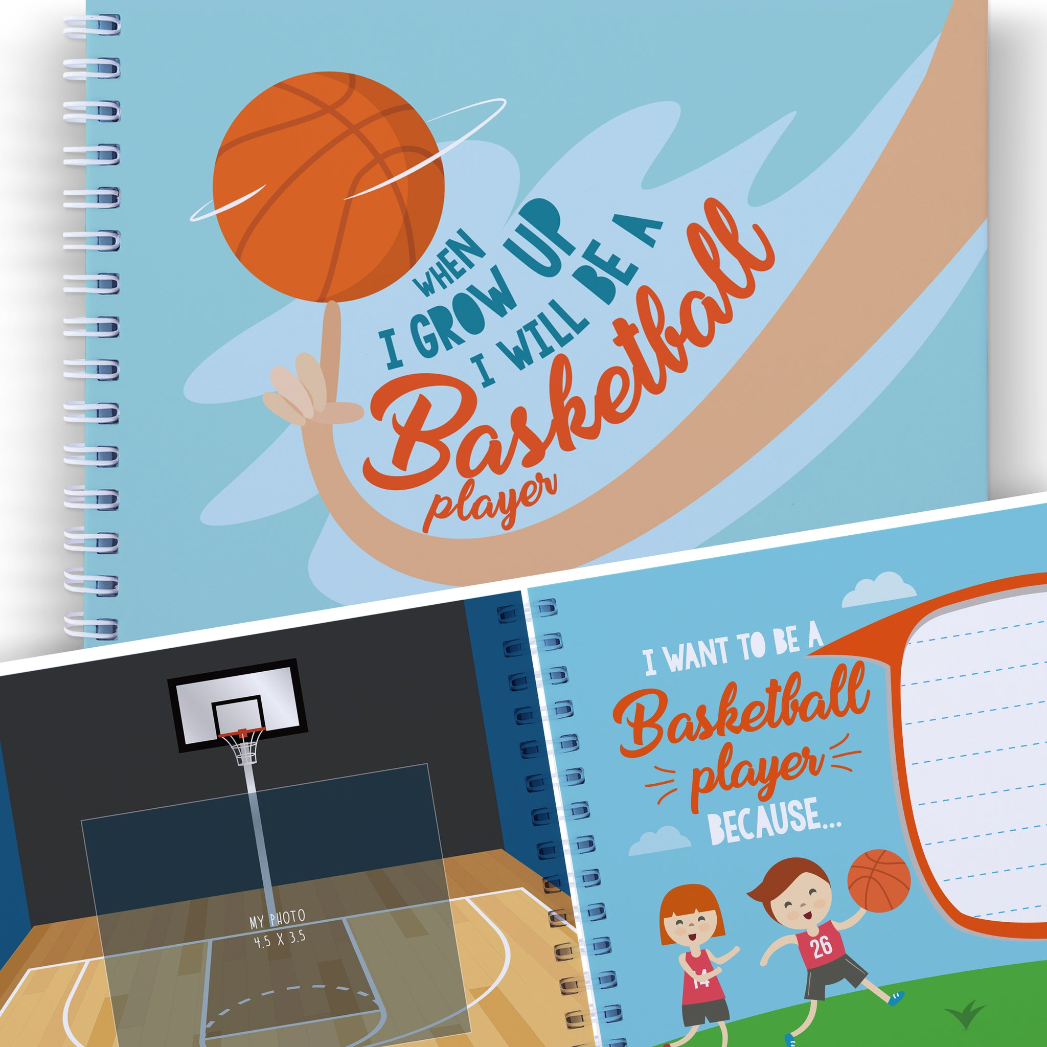 WHEN I GROW UP I WILL BE A BASKETBALL PLAYER - Kids Journal, Gifts for Boys and Girls, Toddler Presents, Art Activity for Children.