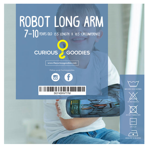 Arm Cast Cover for 7-10 Years Old Kids - Long Arm Robot Design. .