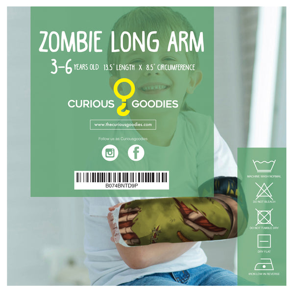 Arm Cast Cover for 7-10 Year Old Kids: Long Arm Zombie Design.
