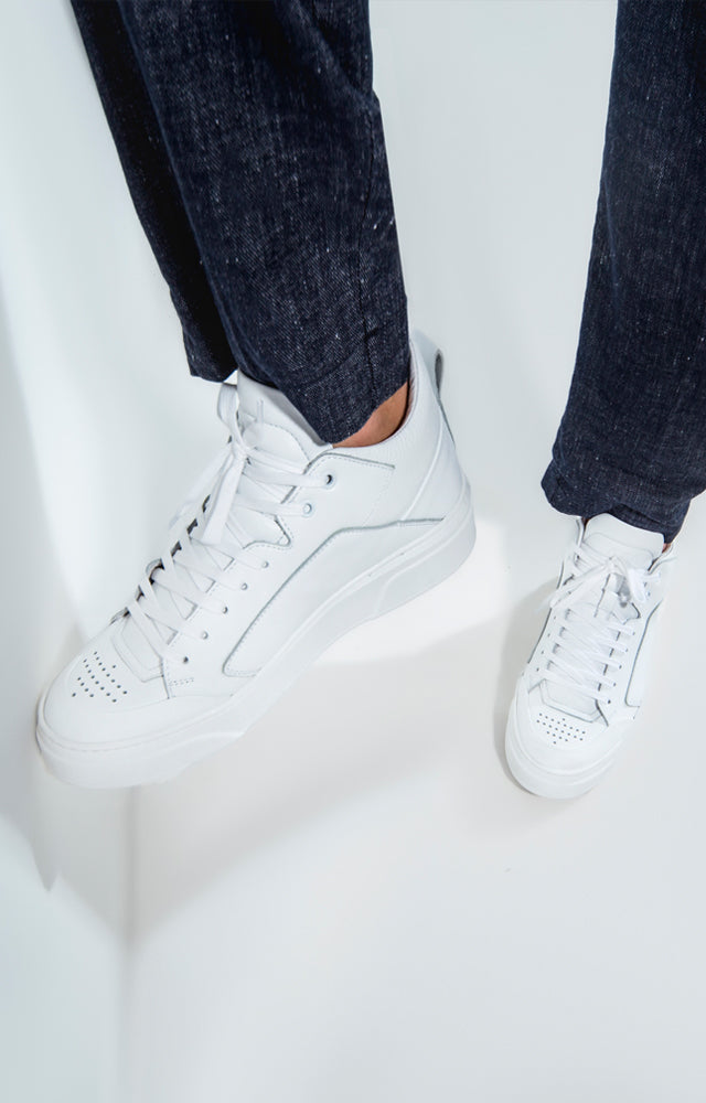 white mid sneakers handcrafted in Italy