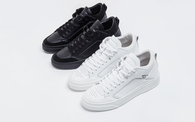 high sneakers made of premium black white leather