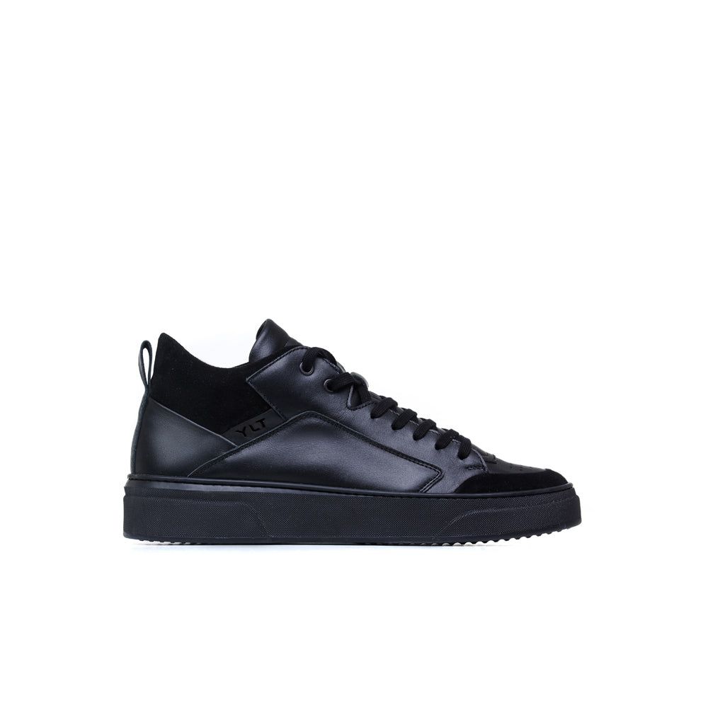 black mid Italian leather sneakers
