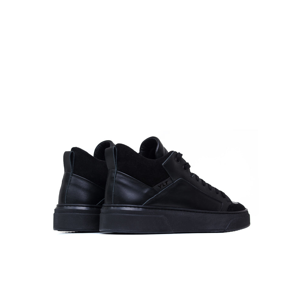 balck suede black leather made in Italy sneakers