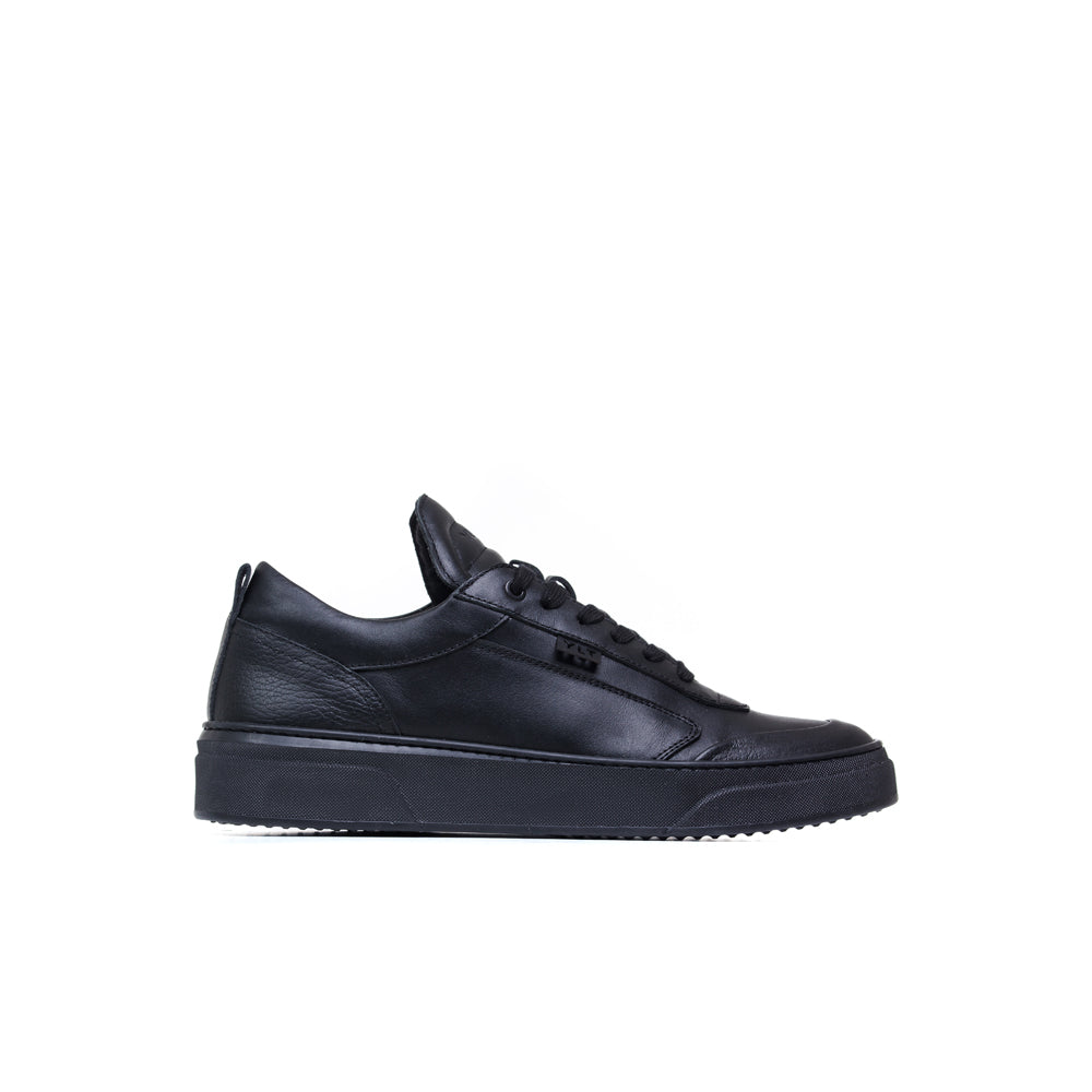 triple black calf italian leather sneaker made in Napoli