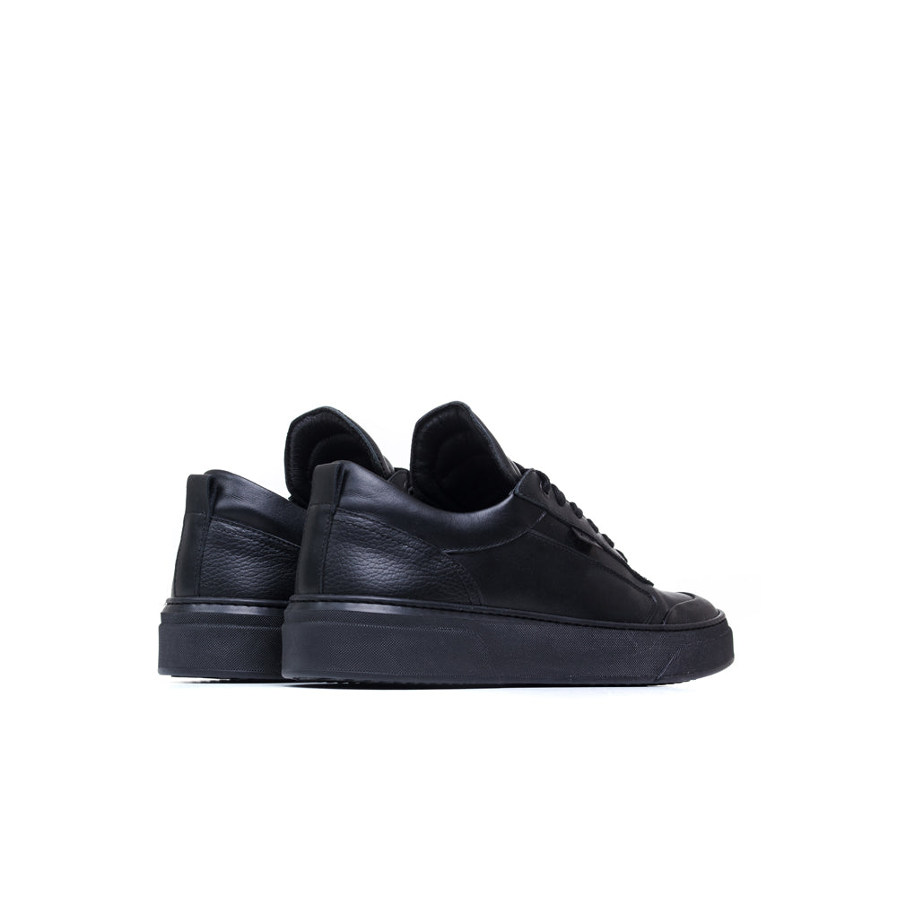 black premium low Italian soft nappa sneakers
