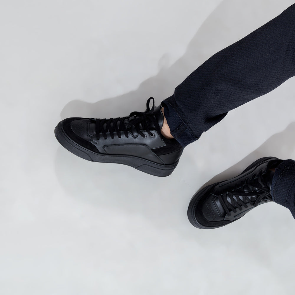 premium high black handcrafted footwear