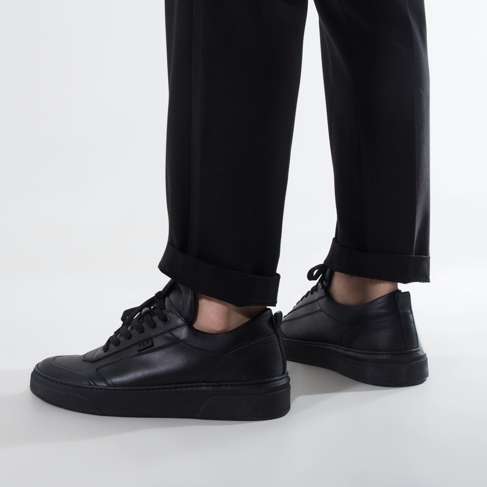 triple black leather turn and stitch toe contrast handcrafted footwear in Italy
