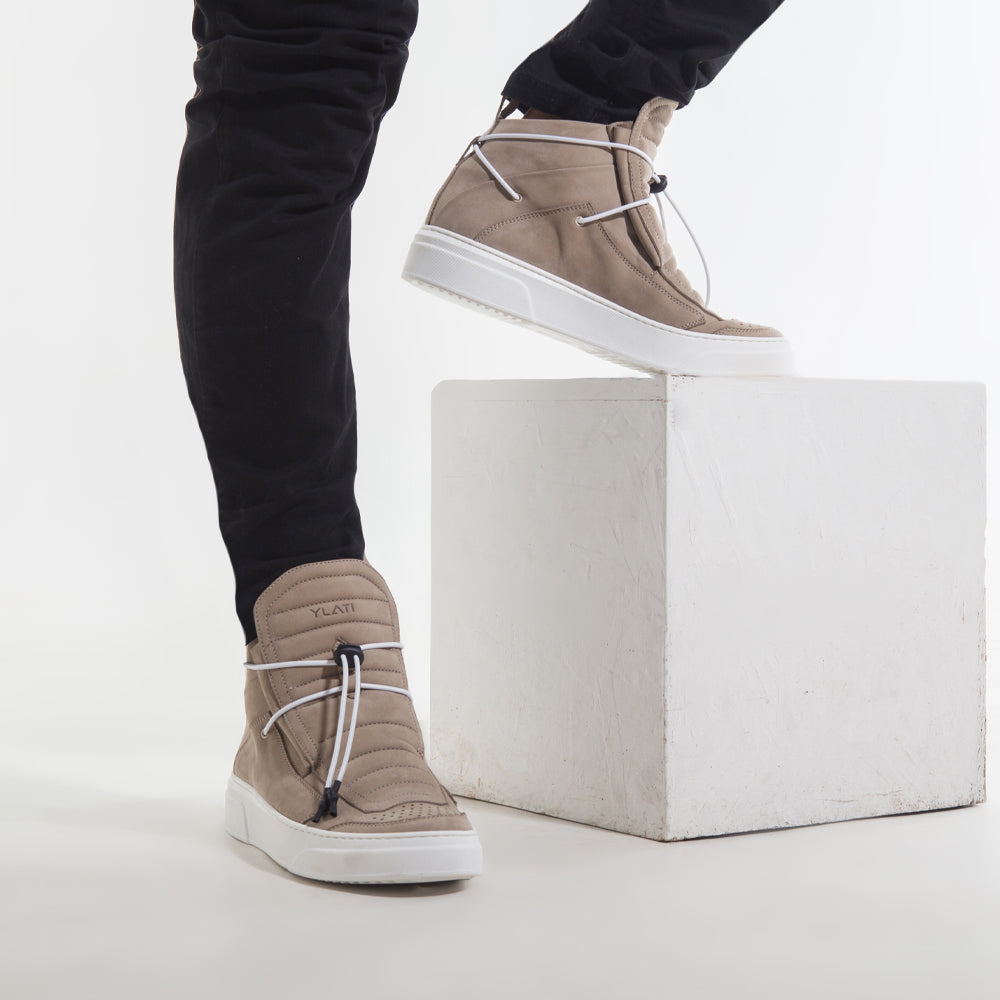 minimal chic mid sneakers made in Italy cream Nabuck