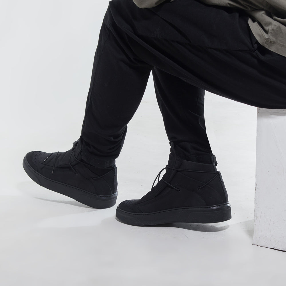 black sneaker boot handcrafted in Napoli minimal design