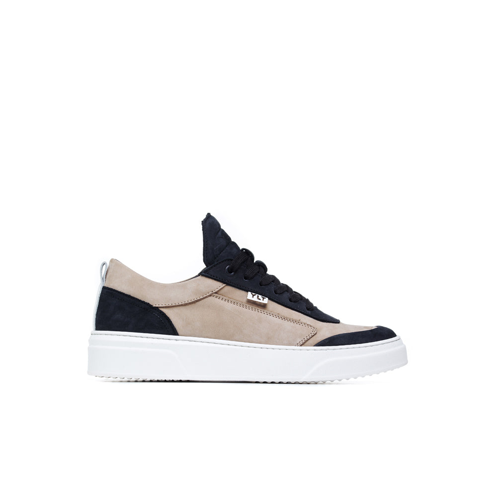cream and black soft nabuck low italian sneakers