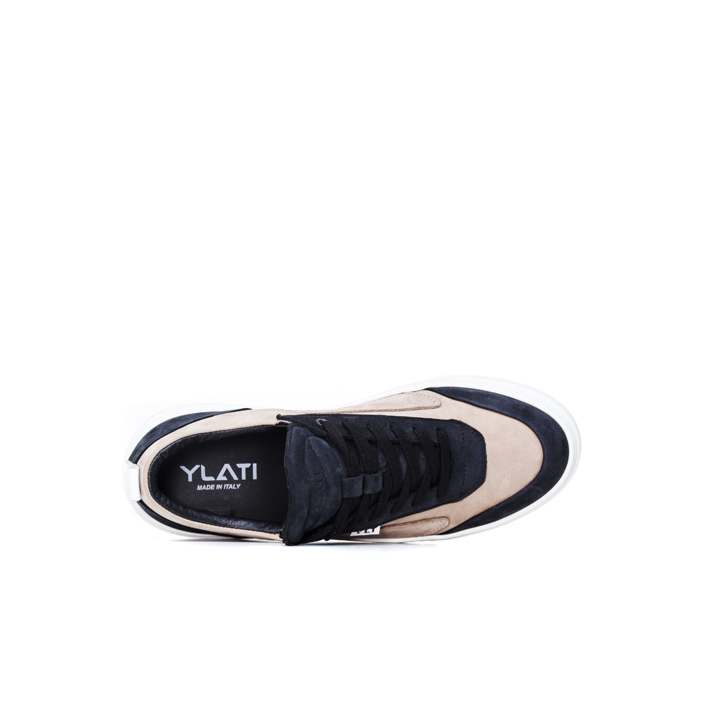 black nabuck cream nabuk white outsole made in Italy sneakers