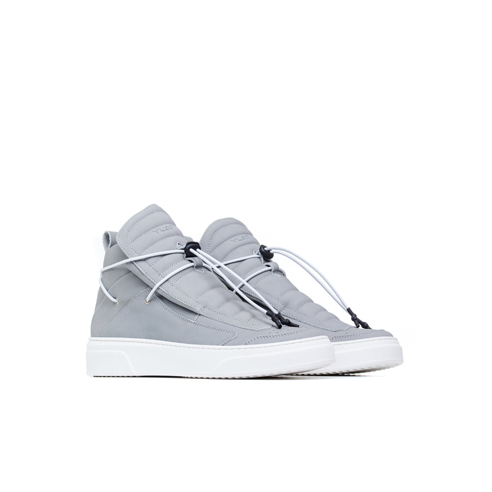 minimal design soft Italian leather grey sneakers boot