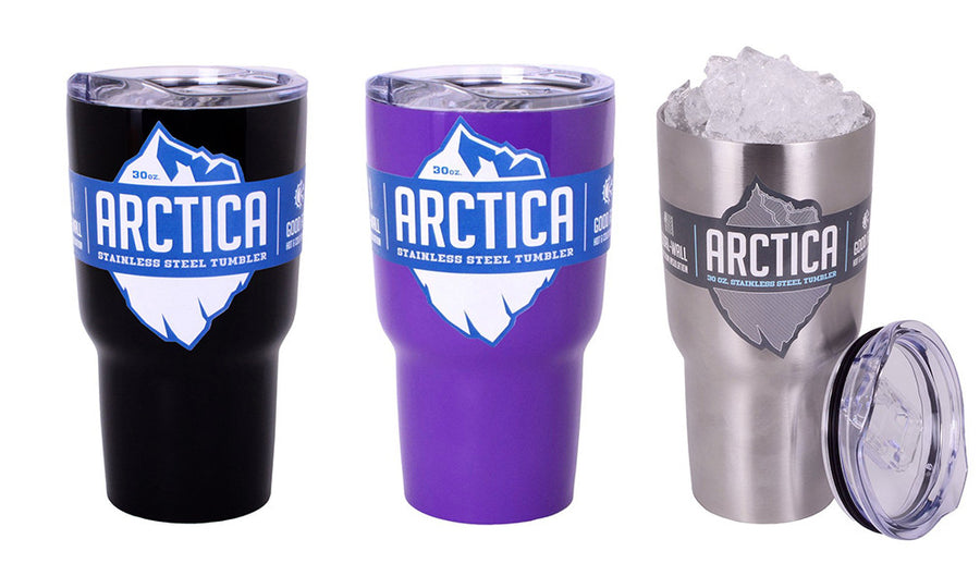 Arctica Tumblers in purple, black and silver