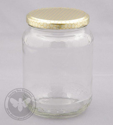 Honey Comb Glass Jar 500 g (Case of 12)