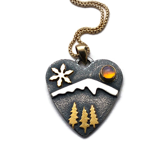Alpine Heart - Medium Size - Let It Snow - Sterling Silver with 18k and 14k Gold
