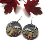 Alpine Earrings - Snow Capped Peak with Sleeping Beauty Turquoise