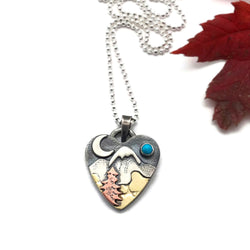 Alpine Heart - Small - Mixed Metals Sterling Silver, Copper, Brass
