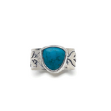 Carico Turquoise and Sterling Silver Botanical Theme Ring