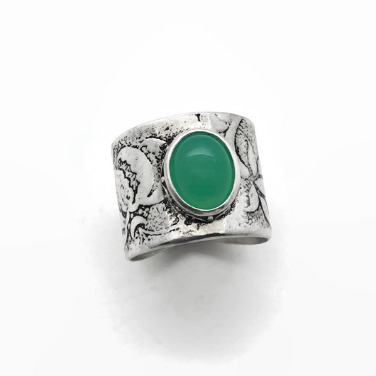 Green Chrysoprase and Sterling Silver Ring