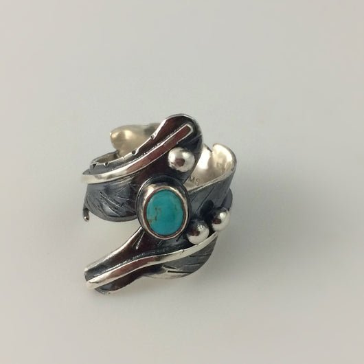 sterling silver feather ring with kingman turquoise