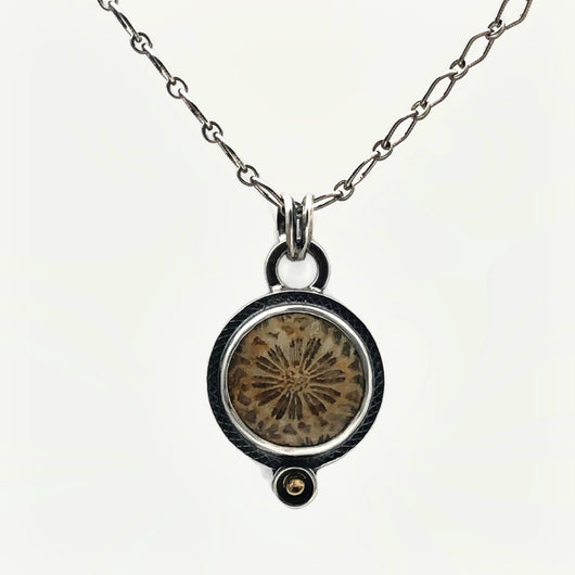 Fossil Coral Necklace with Botanical Embellishment