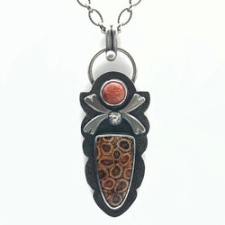 Fossil Coral and Sunstone Necklace