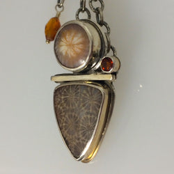 Agatized Fossil Coral with Faceted Fire Citrine Necklace