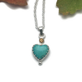 Special Order Reserved for Gretchen Shirley - Grateful Heart Necklace Turquoise with Citrine