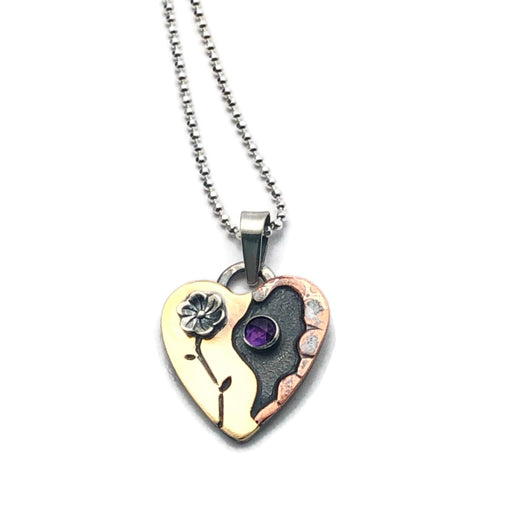 Wildflower Alpine Heart with Amethyst